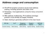 address usage and consumption