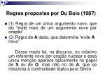 regras propostas por du bois 1987