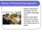basics of password management