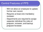 control features of pps