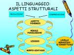 il linguaggio aspetti strutturali