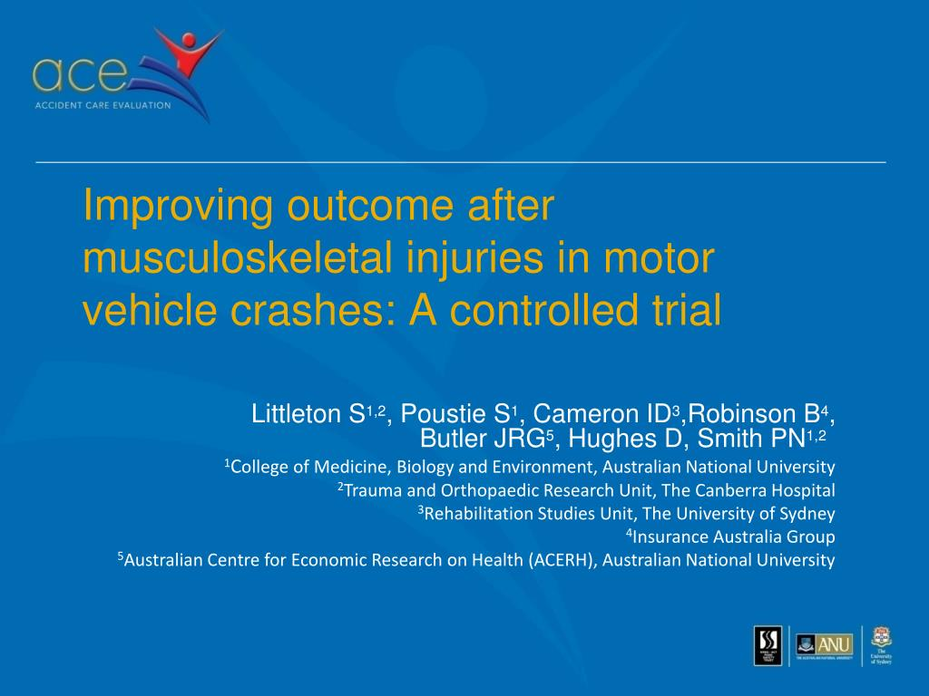 improving outcome after musculoskeletal injuries in motor vehicle crashes a controlled trial l.