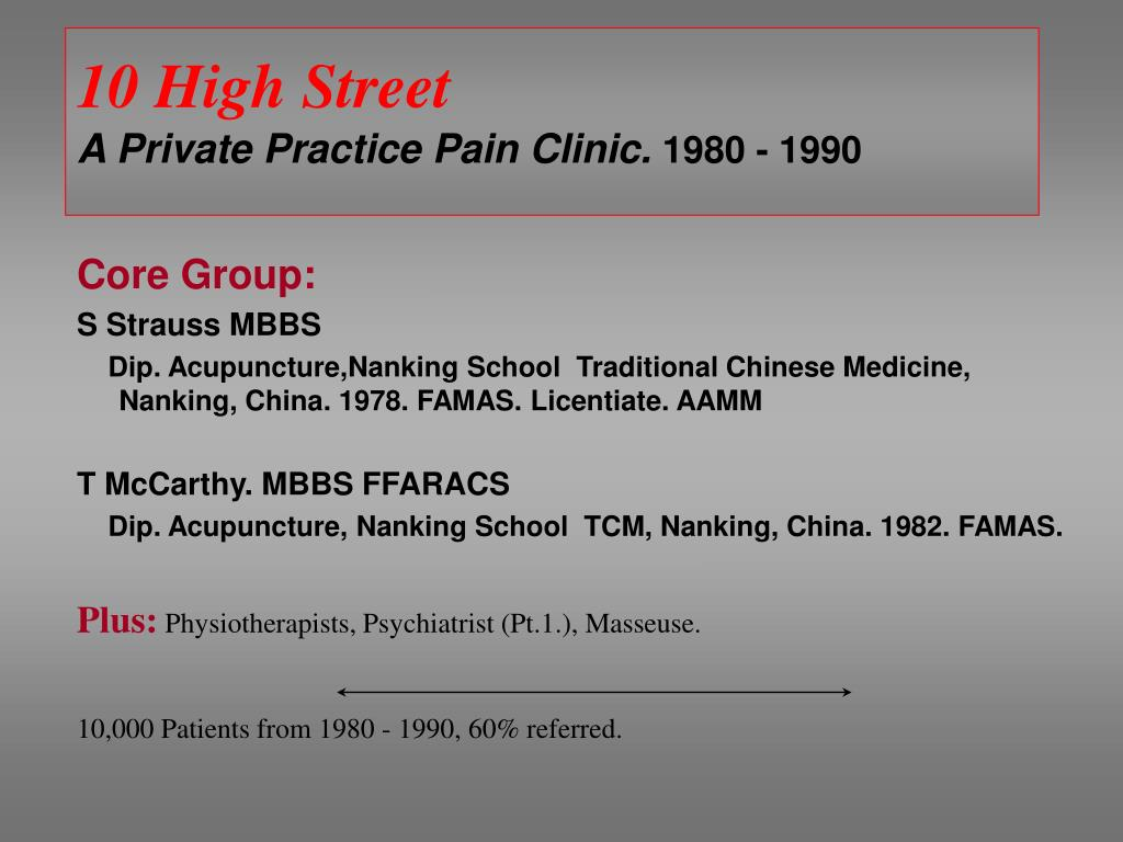 10 high street a private practice pain clinic 1980 1990 l.