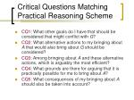 critical questions matching practical reasoning scheme
