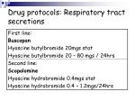 drug protocols respiratory tract secretions