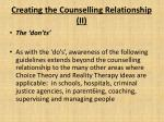 creating the counselling relationship ii
