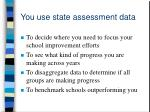 you use state assessment data
