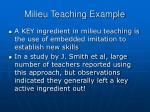 milieu teaching example