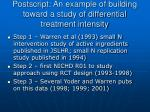 postscript an example of building toward a study of differential treatment intensity
