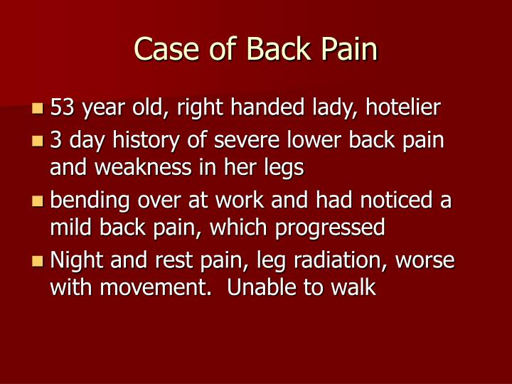 case of back pain n.
