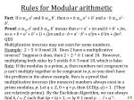 rules for modular arithmetic