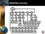 mc600 menu overview