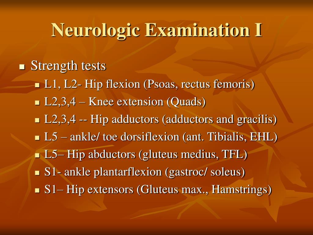 Neurologic Examination I