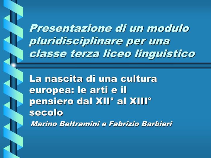 presentazione di un modulo pluridisciplinare per una classe terza liceo linguistico n.