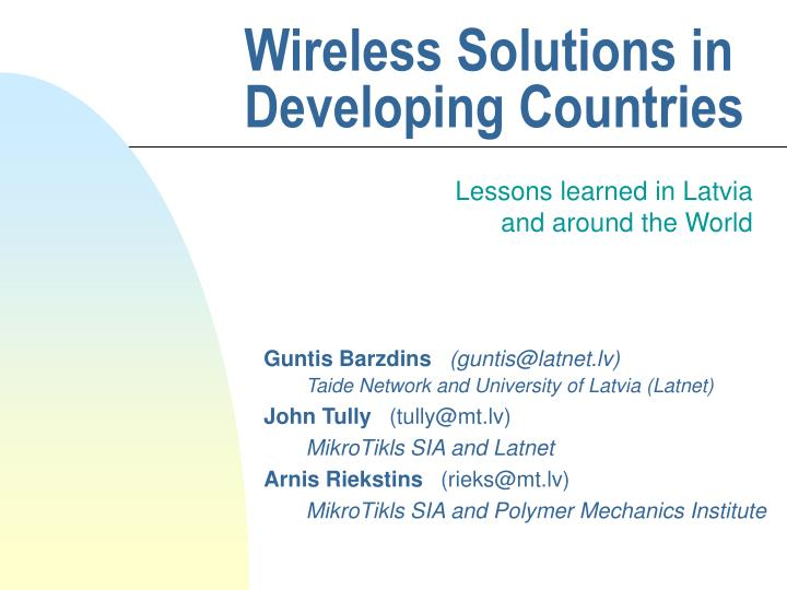 wireless solutions in developing countries n.