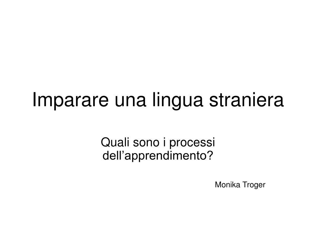 imparare una lingua straniera l.