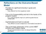 reflections on the outcome based model