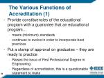 the various functions of accreditation 1