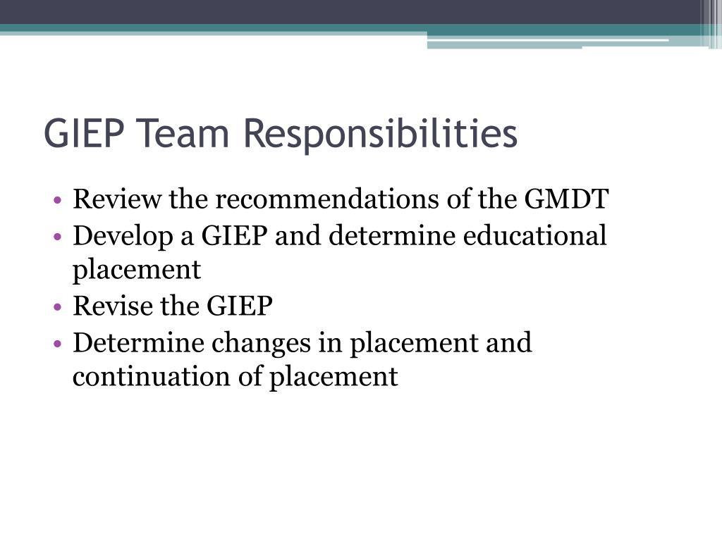 GIEP Team Responsibilities