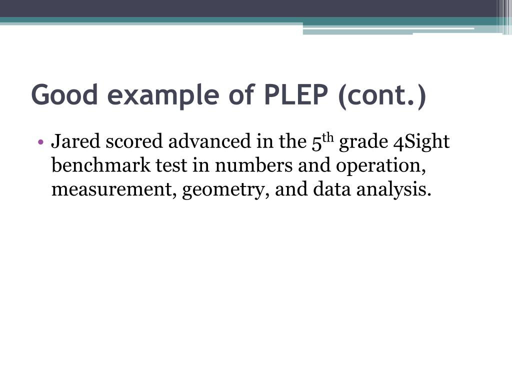 Good example of PLEP (cont.)