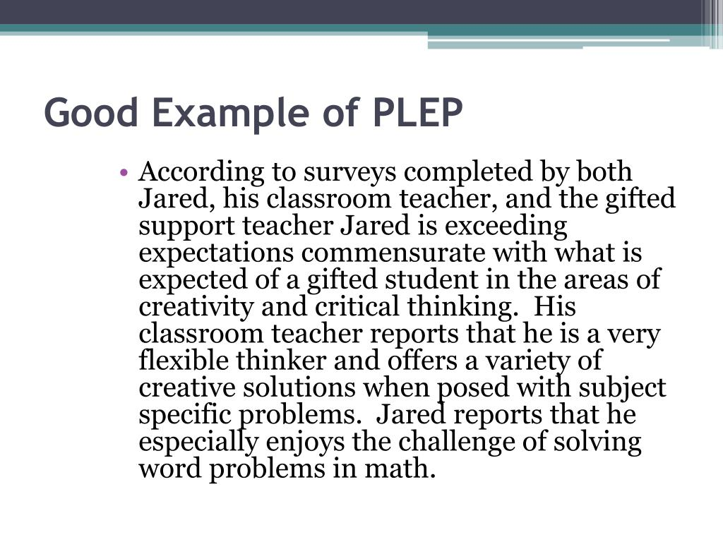 Good Example of PLEP