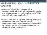good examples short term learning outcomes