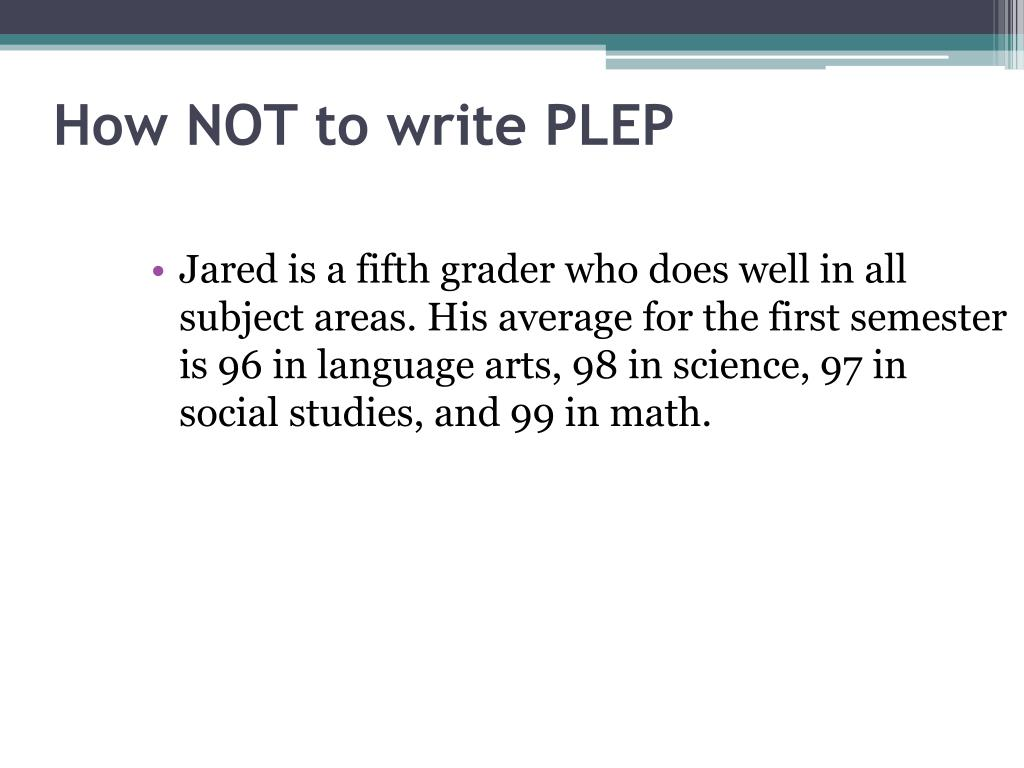 How NOT to write PLEP