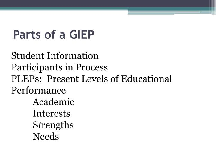 Parts of a giep