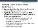 present levels of educational performance14