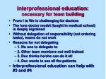 interprofessional education necessary for team building
