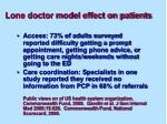 lone doctor model effect on patients