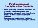 panel management from he she to they from i to we