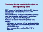 the lone doctor model is in crisis in adult primary care