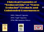 historical examples of reduced risk or harm reducing products and unintended consequences