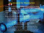 organization for manufacture