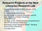 research projects at the new literacies research lab