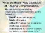 what are these new literacies of reading comprehension