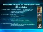 breakthroughs in medicine and chemistry