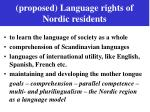 proposed language rights of nordic residents