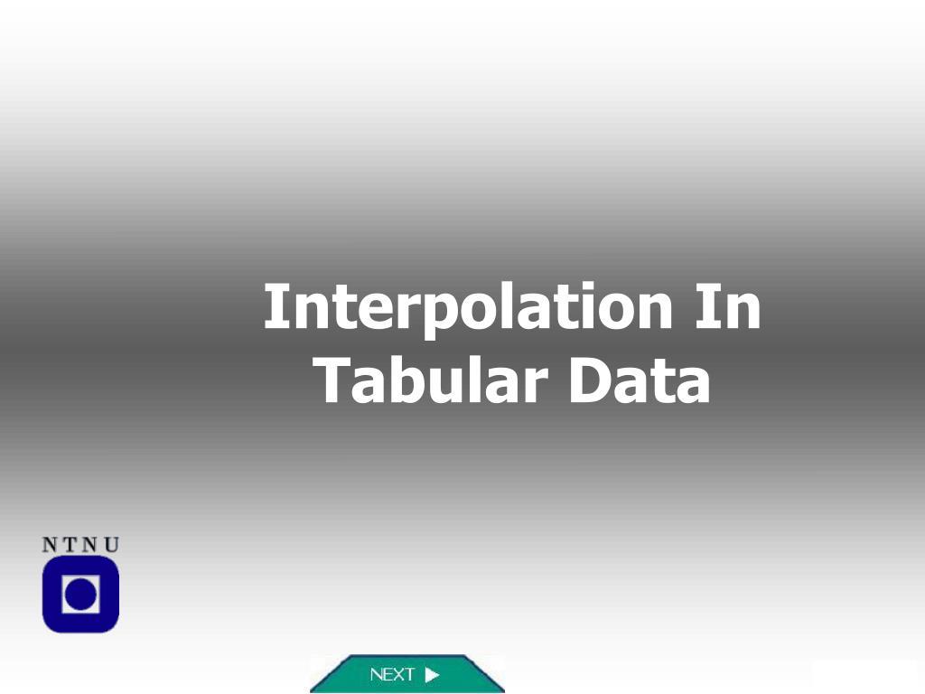 interpolation in tabular data l.