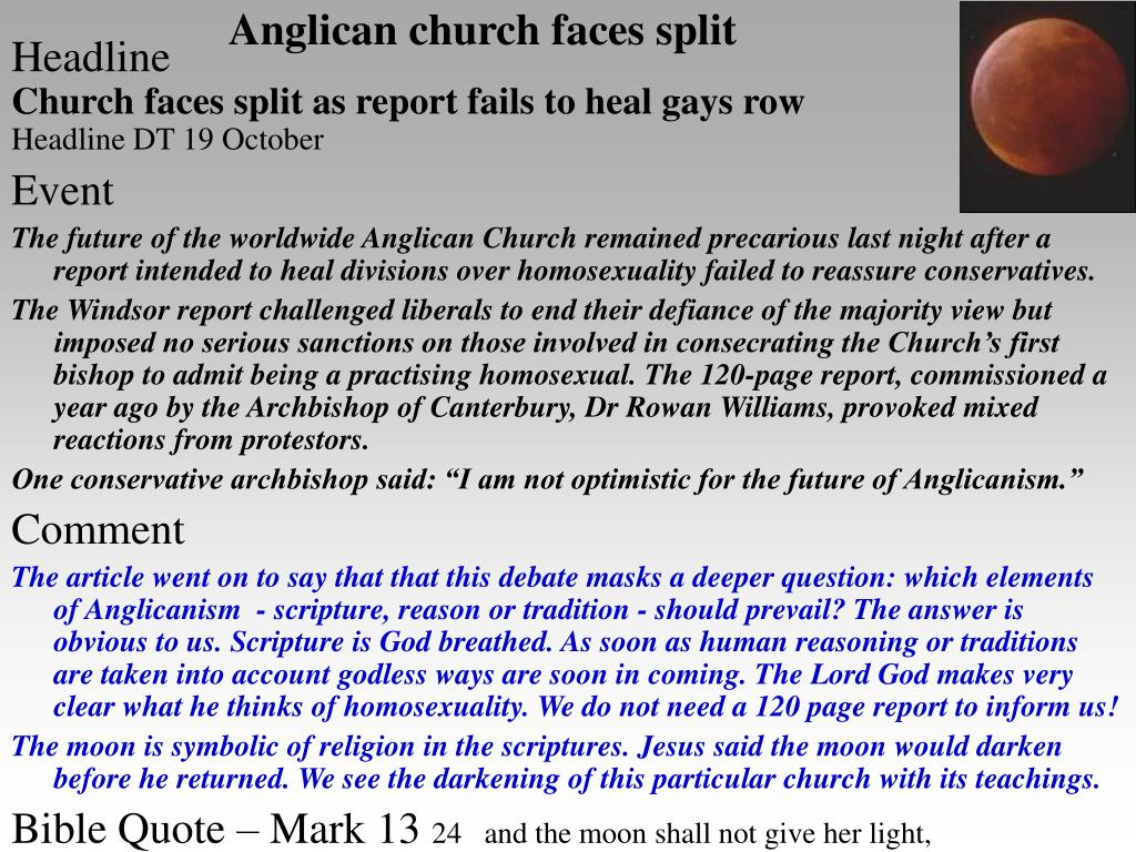 Anglican church faces split