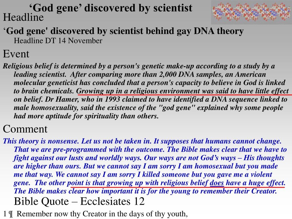 'God gene' discovered by scientist