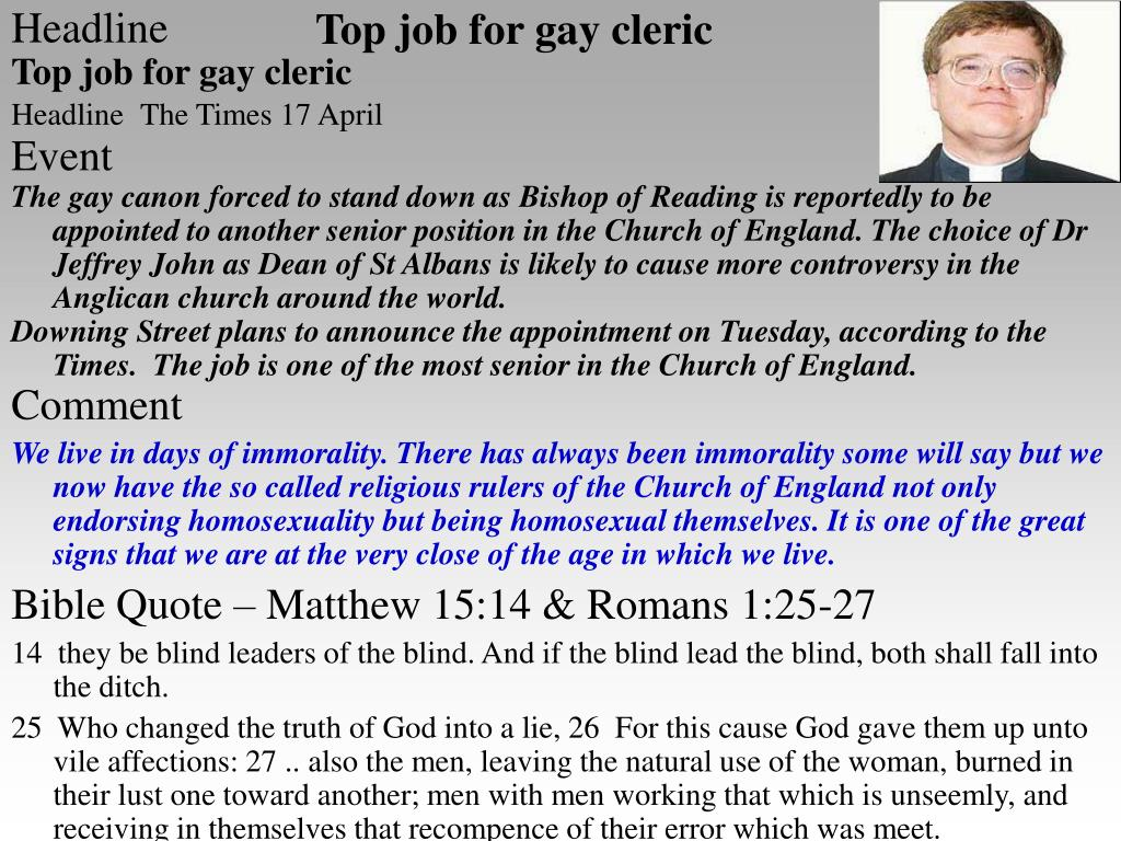 Top job for gay cleric
