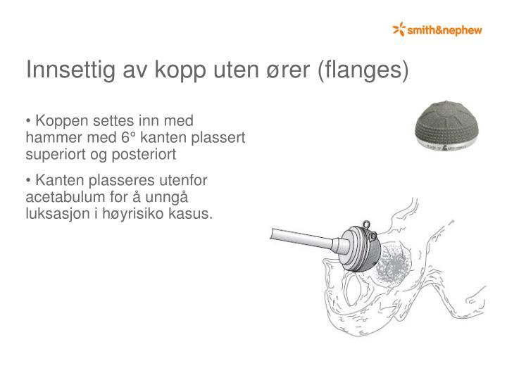 Koppen settes inn med hammer med 6° kanten plassert superiort og posteriort