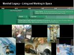marshall legacy living and working in space
