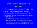 health effects thimerosal in vaccines