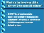 what are the five steps of the theory of constraints goldratt