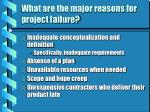 what are the major reasons for project failure