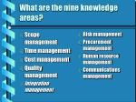 what are the nine knowledge areas