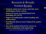 research broadly verified results